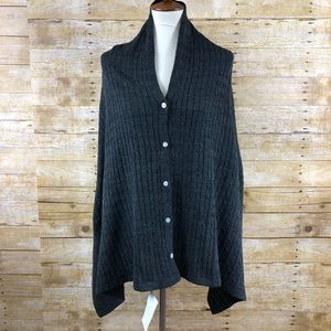 NWT MarleyLilly Charcoal Gray Sweater Shaw OS